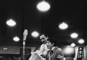 Record producer Goddard Lieberson with Zizi Jeanmaire