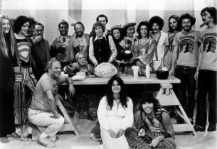 Original Godspell cast in a Today Show performance, July 1971, standing left to