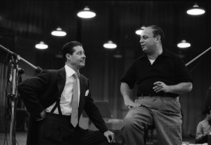 Don Ameche and music director Lehman Engel (Photo: Don Hunstein)