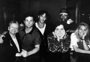 In the studio, l. to r., Marcia Lewis, Sam Harris, Ricky Paull Goldin, Rosie O'D