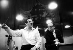 Milton Rosenstock, the show's music director, with composer Jule Styne