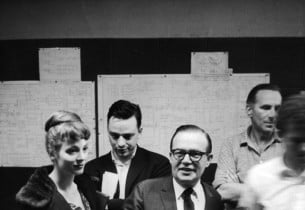Sandra Church, Stephen Sondheim, Jule Styne, recording engineer Fred Plaut, and