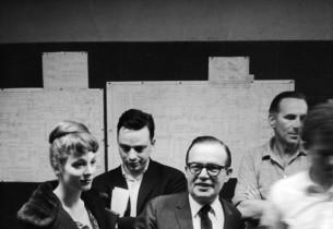 Sandra Church, Stephen Sondheim, Jule Styne, recording engineer Fred Plaut, and