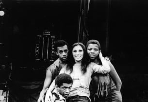 Joe Morton, Natalie Mosco, Donnie Burks and Ronnie Dyson in a scene from the sho