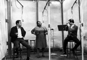 Robert Hooks, Lillian Hayman and Allen Case (with camera)