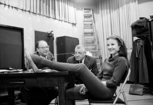 Janice Rule with two unidentified visitors