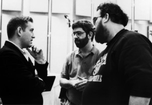Composer Michael John LaChiusa, David Evans and Michael Starobin