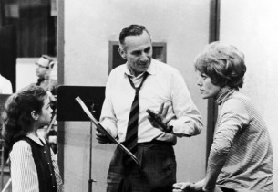 Record producer Goddard Lieberson with Valerie Lee and Janis Paige