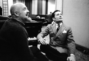 Unidentified man (on left) and Jerry Herman (Photo: Fred Lombardi)