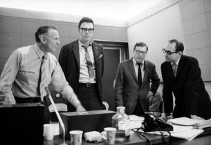Record producer Goddard Lieberson, Bob Holiday, lyricist Lee Adams, and composer