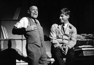 "Sammy Smith and Robert Morse in ""The Company Way"", a scene from ""How To Succeed In Business Without Really Trying"" (Photo: Friedman-Abeles)"