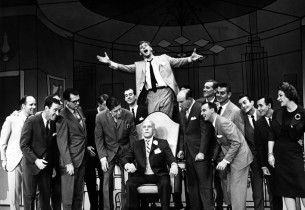 """Robert Morse and cast in the finale """"Brotherhood of Men"""" from the show """"How To S"""
