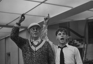 """""""Grand Old Ivy"""" – Rudy Vallee as J.B. Biggley and Robert Morse as J. Pierpont Fi"""