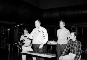 In the recording studio (l. to r.): record producer Jay David Saks, Paul Gemigni