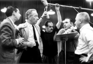 Jack MacGowran, Melvyn Douglas, engineer Fred Plaut, and Goddard Lieberson in