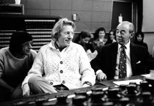 Lyricist Martin Charnin, Danny Kaye and composer Richard Rodgers