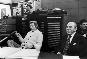 Danny Kaye and Richard Rodgers listening to a playback with engineer Fred Plaut