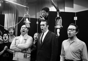 "Arthur Rubin, Christopher Hewett and Alfred Drake recording ""The Fog and The Gro"