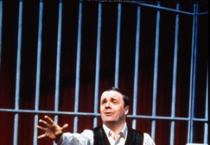 "Max Bialystock (Nathan Lane), in jail: ""Betrayed"" (Photo: Paul Kolnik)"