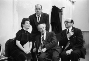 Charlotte Rae, Johnny Mercer, Joe E. Marks, and co-book writer Melvin Frank