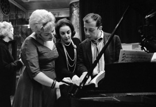 Nancy Andrews, with Carolyn Leigh and Cy Coleman (Photo: Marvin Lichtman)