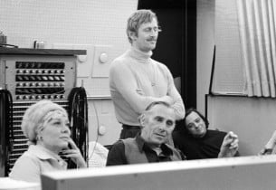 Listening to a playback, Glynis Johns, Goddard Lieberson, Len Cariou and Stephen