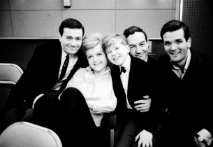 composer Jerry Herman with Angela Lansbury, Frankie Michaels, co-librettist , an