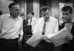 Record producer Goddard Lieberson, music director Donald Pippin, unidentified