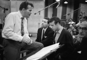 Donald Pippin, Jerry Herman, Skip Redwine, and orchestra contractor, Morris Ston