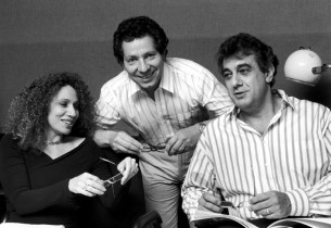 Julia Migenes, record producer Thomas Z. Shepard, and Placido Domingo
