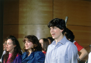 Lonny Price (with glasses), Terry Finn, Donna Marie Elio, Ann Morrison (partly h