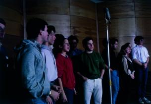 Left to right: Clark Sayre (in shadow), James Bonkovsky, Gary Stevens,