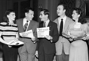 Allyn McLerie, record producer Manny Sacks, composer Irving Berlin, Eddie Albert