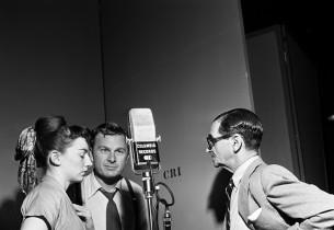 Allyn McLerie, Eddie Albert, and composer Irving Berlin (Photo: Don Hunstein)