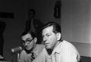 Irving Berlin and record producer Manny Sachs in the control room  (Photo: Don H