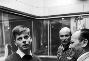 Robert Morse, record producer George Avakian, and show composer Frank Loesser