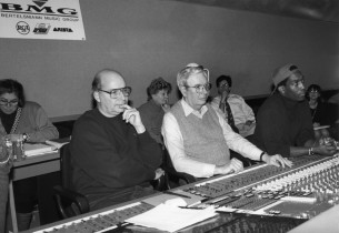 record producer Mike Berniker, engineers Paul Goodman and James Nichols in contr