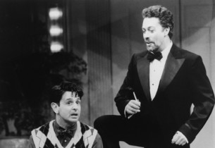Evan Pappas (Benjy Stone) and his idol, the irrepressible Tim Curry as Alan Swan