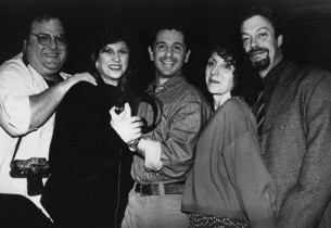 The cast, from l. to r. – Josh Mostel, Lainie Kazan, Evan Pappas, Andrea Martin,
