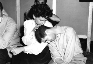 Robert Clary and Alice Ghostley during a pause