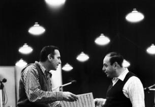 Goddard Lieberson and musical director Lehman Engel (Photo: Dan Weiner)