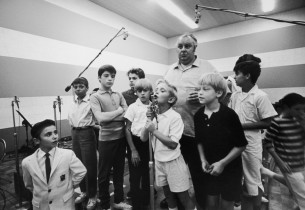 Willoughby Goddard (Mr. Bumble) and Boys in recording studio