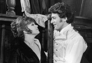 Barbara Harris & Clifford David in period costumes