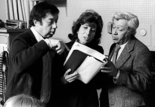 Composer Cy Coleman with book and lyric writers Betty Comden and Adolph Green