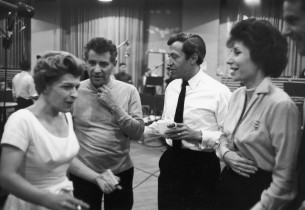 Nancy Walker, Leonard Bernstein, Adolph Green and Betty Comden