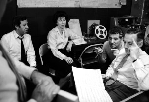 Composer Leonard Bernstein with lyricists Betty Comden and Adolph Green (Photo: