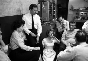 In the control room, Cris Alexander, Betty Comden, Adolph Green, Nancy Walker,