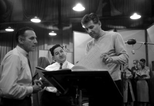 Goddard Lieberson, associate producer Teo Macero, and Leonard Bernstein