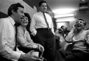 In the control room, Adolph Green, Betty Comden, Teo Macero and Leonard Bernste