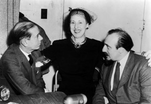 Cole Porter, Charlotte Greenwood, and Columbia Records A&R director Mitch Miller